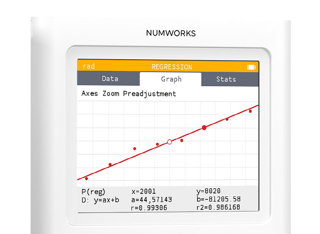 Regression app on the NumWorks graphing calculator