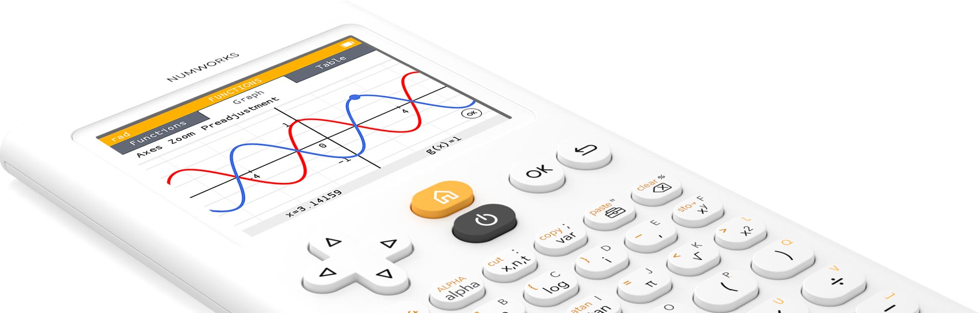 Functions app on the NumWorks graphing calculator
