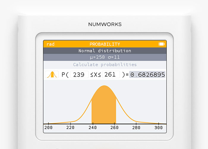 Probability app on the NumWorks graphing calculator