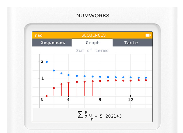 Sequences app on the NumWorks graphing calculator